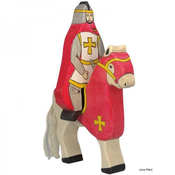 Holztiger Spielfigur Roter Ritter mit Mantel, reitend (ohne Pferd)
