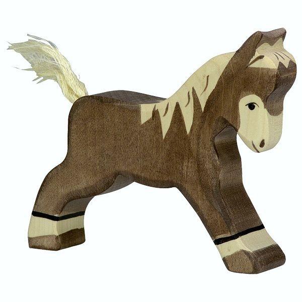 Holztiger Spielfigur Fohlen, laufend, dunkelbraun