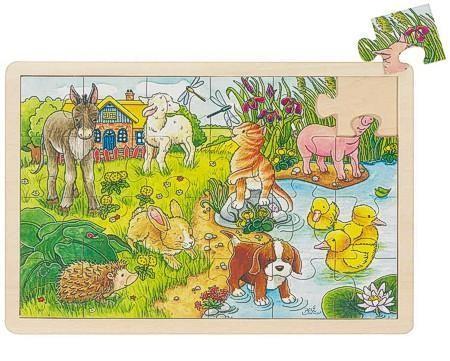 Goki Einlegepuzzle Tierkinder, Holz