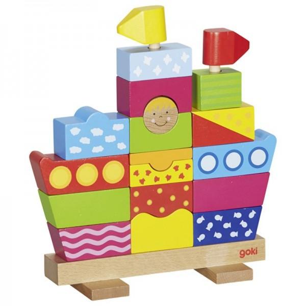 Steckfigur Schiff, 20 Teile aus Holz