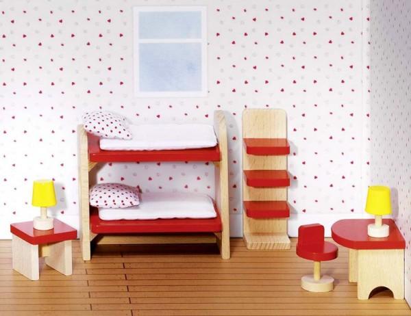 Puppenmöbel Kinderzimmer basic, 11 Teile aus Holz