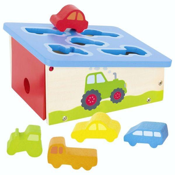 Sortier Box Fahrzeuge mit 5-teiligem Zubehör, aus Holz