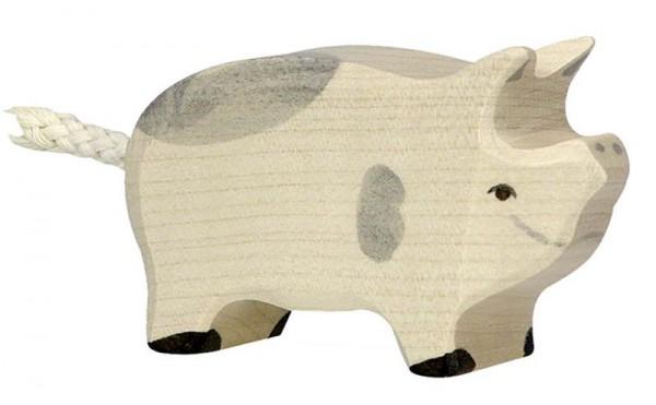 Holztiger Spielfigur Ferkel, gefleckt