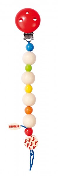 Heimess Nuckelkette, Schullerkette aus Holz, Regenbogen, 21 cm lang