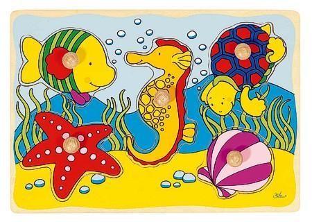 Goki Steckpuzzle aus Holz, Seepferdchen, Muschel ...