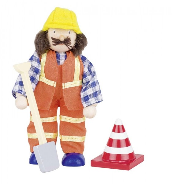 Biegepuppe Bauarbeiter III, aus Holz uns Stoff.