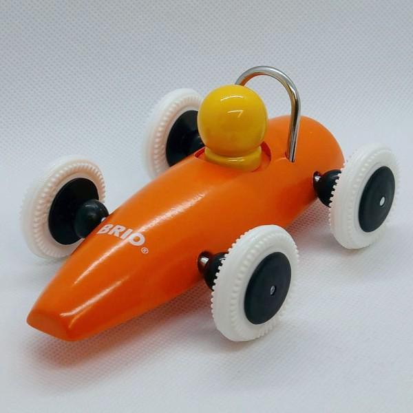 oranger Flitzer, Schiebeauto, Rennwagen aus Holz