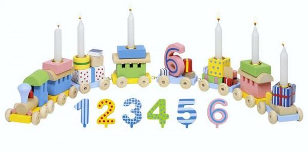 Geburtstagszug mit Zahlen von 1-6