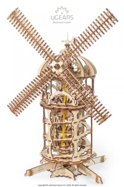 Ugears 3D Holzbausatz Windmühle, mit mechanischer Funktion, lasercut