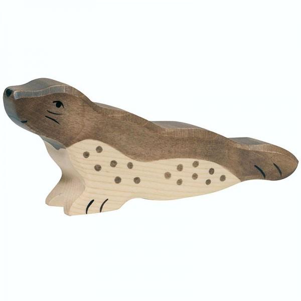 Holztiger Spielfigur Robbe, kopf hoch