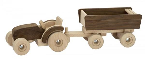 Goki nature, Traktor mit Anhänger, Holz naturbelassen