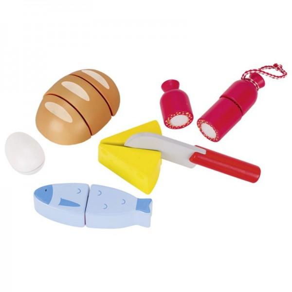 Köstlichkeiten mit Klettverbindung, Schneidspielzeug aus Holz