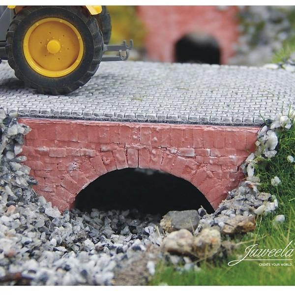 Wasserdurchlaß mittel, ziegelrot, Modelleisenbahn H0, M1:87, 3 Stück aus Keramik