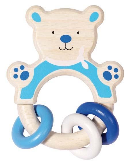 Heimess Greifling Bär, blau, Holz