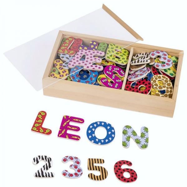 Magnet-Alphabet, Buchstaben und Zahlen II, 88 Teile im Holzkasten
