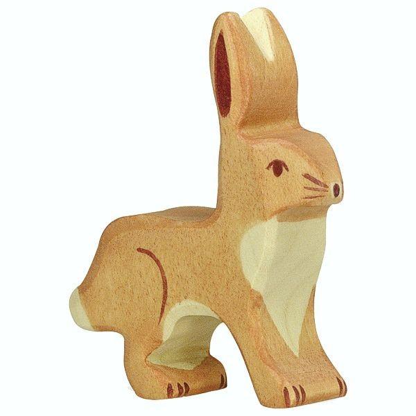 Holztiger Spielfigur Hase, Ohren hoch