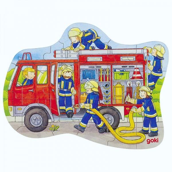 Konturenpuzzle Feuerwehr, 22 Puzzleteile aus Holz