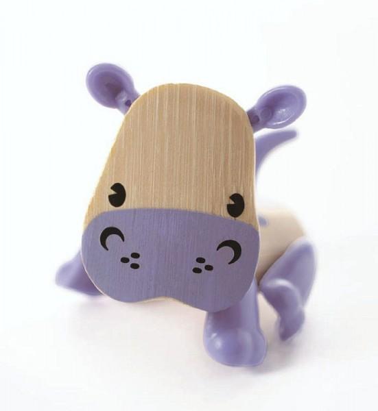Tierfigur Nilpferd, aus Bambus und Kunststoff